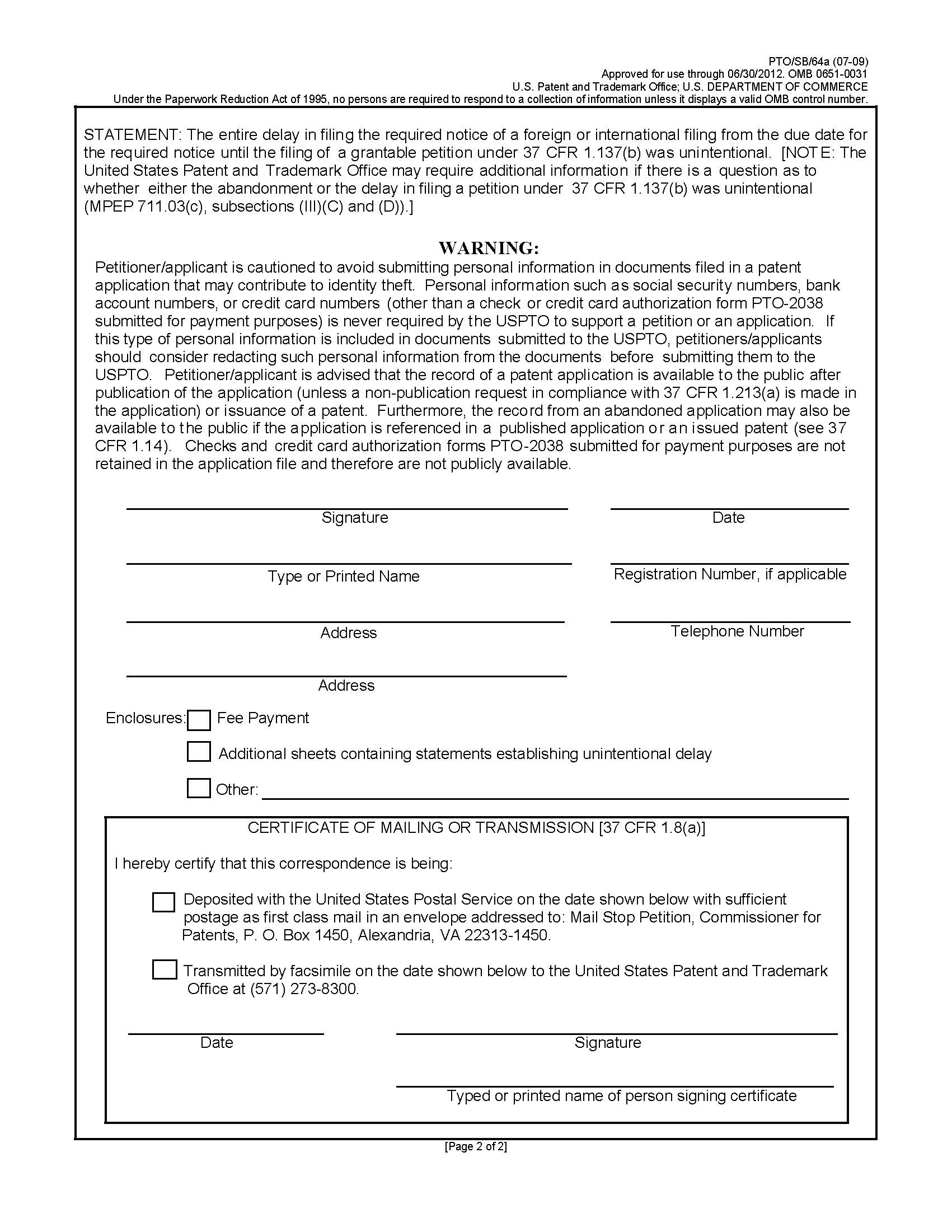 Mpep page 2 form ptosb64a petition for revival of an application for patent abandoned for failure to notify the office of a foreign or international filing 37 1betcityfo Images