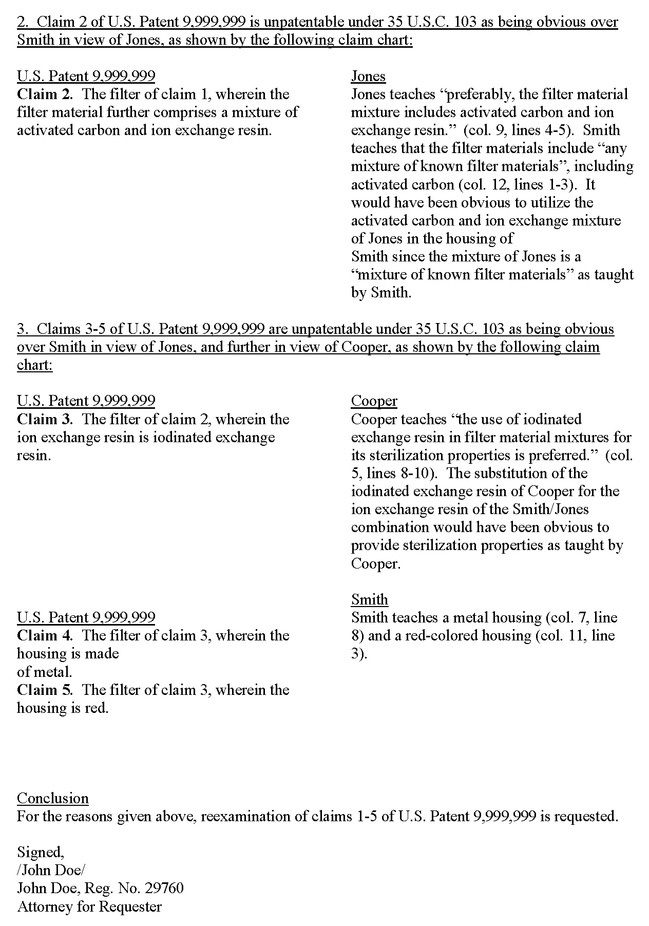Paralegal Cover Letter. Request For Reexamination Of U.S. Patent 9,999,999  (Page 2)