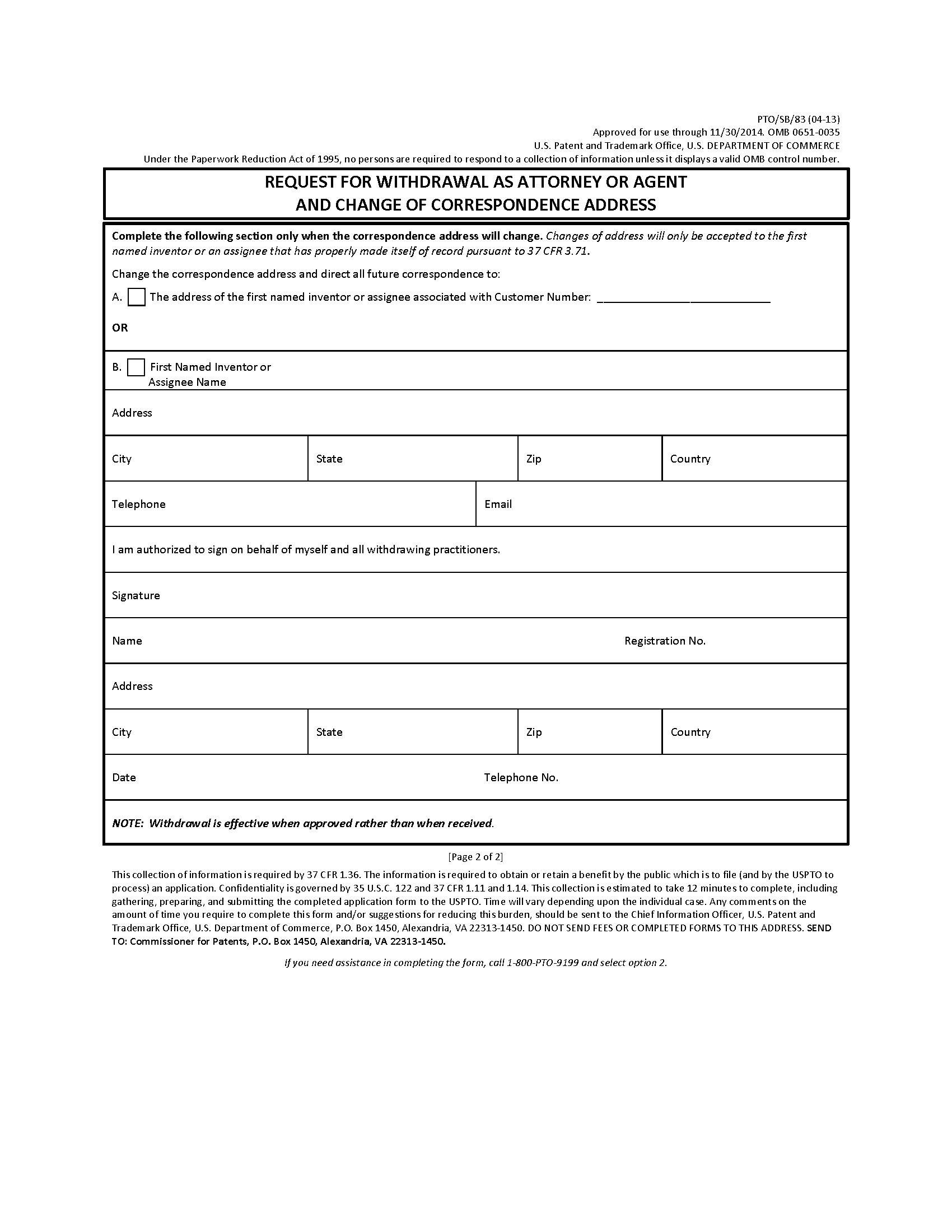 MPEP – Address Change Form Template