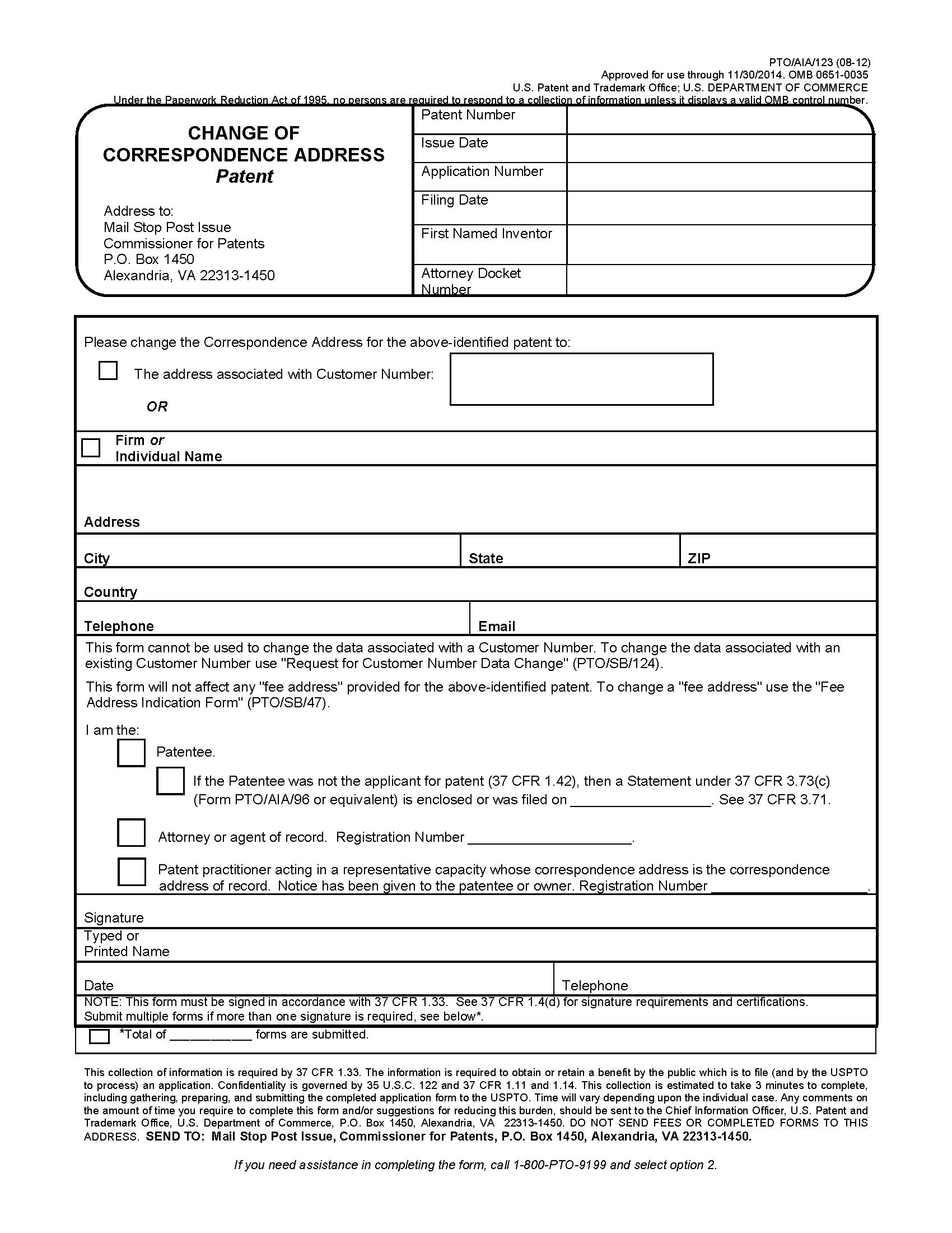 Mpep change of correspondence address patent biocorpaavc