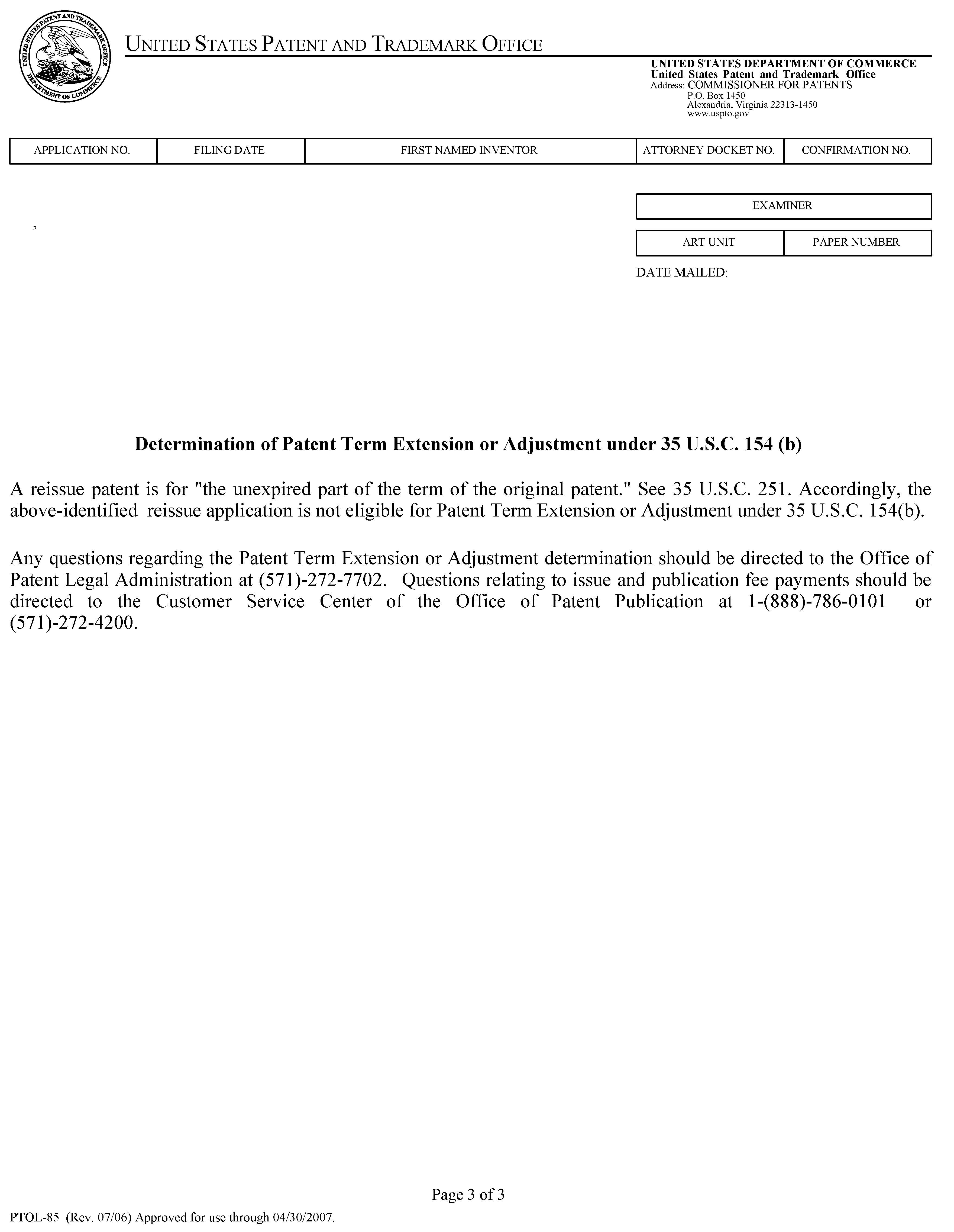 Mpep determination of patent term extension or adjustment under 35 usc 154b form aljukfo Images