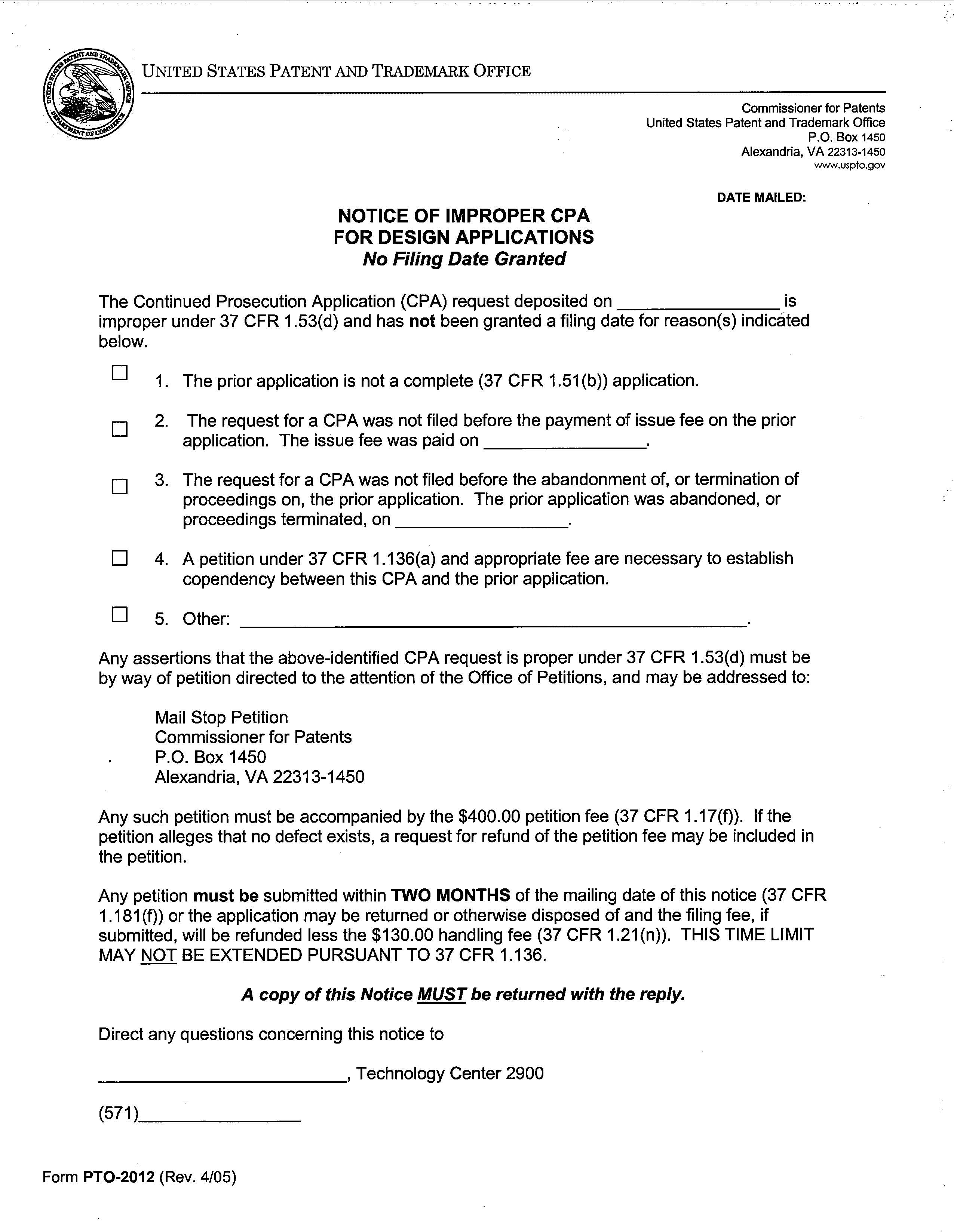 Mpep form pto 2012 notice of improper cpa for design applications no filing date granted falaconquin